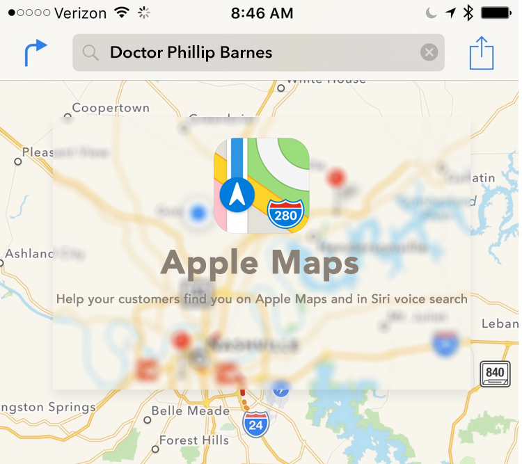 Apple Map placement for Doctors